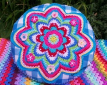 ROUND CROCHET PILLOW Crochet Cushion, colorful crochet pillow Crochet flower pillow Gingham pillow Granny crochet cushion KerryJayneDesigns