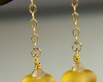 Lemondrop Earrings - lampwork glass beads with 24K gold and Swarovski crystal
