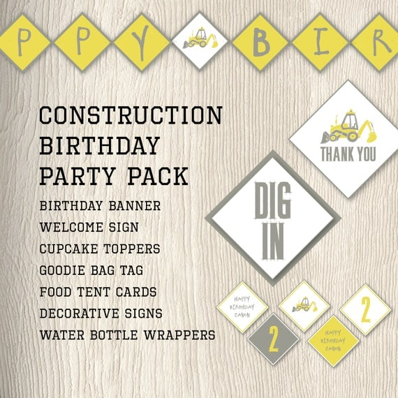 Items Similar To Construction Birthday Party Pack With