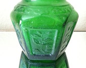 Vintage Mini Green Floral Glass Vase - 4evrVintage