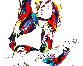 "Jimmy Page of Led Zeppelin: POSTER from Original Dwg 18"" x 24"" Signed/Dated by Artist w/COA 4"