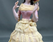 Vintage Porcelain Lady Figurine, Made in Japan With Real Lace, Wearing a Skirt and Hat, and an Old Fashioned Dress