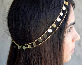 THE CLEOPATRA - Gold Coin Hair Chain Jewelry Sexy Boho Princess Egyptian Belly Dancer Cleopatra head chain Belly Dancer Valentines Christmas