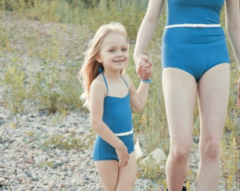 """Mother's and daughter's swimsuit set / One piece retro style blue woman swimsuit / Vintage inspired baby or girlswimwear """"ON THE ROAD"""""""