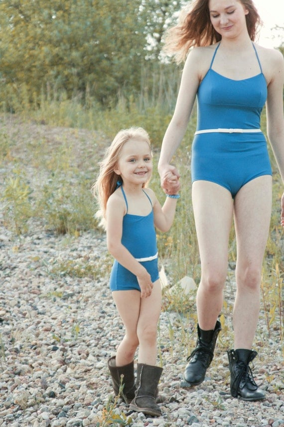 Items similar to Mother's and daughter's swimsuit set ...