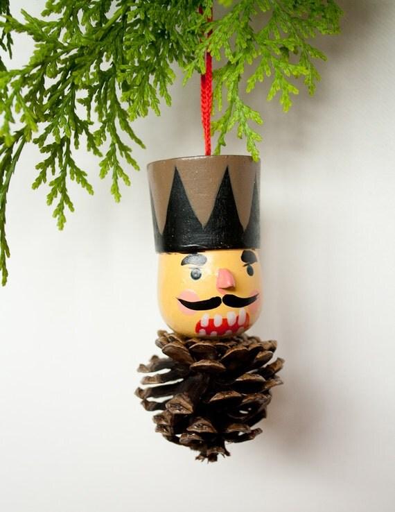 Nut cracker pine cone christmas tree ornament for Pine cone christmas tree ornaments