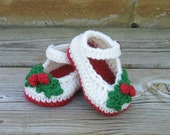 Crochet Christmas Shoes, Newborn Girl Shoes, Girls Shoes, Baby Girl Shoes, Holly Shoes, Newborn Shoes, Mary Janes