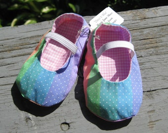 12 mths. Upcycled Fabric Shoes, Baby Girl Shoes, Mary Jane Shoes, Eco Friendly Shoes, Rainbow Toddler Shoes, Baby Girl Shower Gift