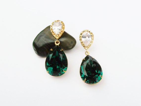 Emerald Green Earrings in Gold, Sterling Silver Post Pear Drop Earrings made with Genuine Swarovski Elements