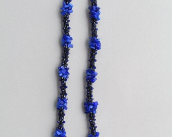 Black and Blue Kumihimo Necklace