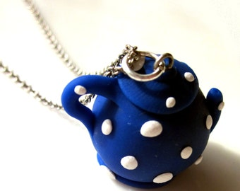 Blue Polymer Clay Teapot Pendant/Charm, English Blue Teapot, Teapot Jewellery, Tea Jewellery, Blue Jewellery Clay Teapot