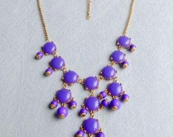16mm GOLD MINIbubblesmooth Necklace - Purple MINI SMOOTH bubble necklace,statement necklace, bridal party necklace, kids girls necklace