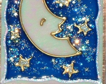 Personalized Deep Blue Moon & Stars Night Light Moon Nursery Decor Decorative Plug Night Light for Kids Celestial Childrens Baby Night Light