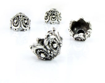 Bead Caps 15x10mm, Silver Tone Bead Caps, Large Bead Caps, Antiqued Metal Bead Caps, 2 pieces