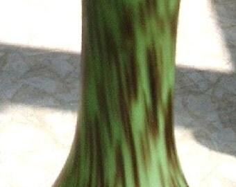 """SALE - Vintage Stretched """"End of Day"""" Multi-Hued Cased Green Bud Vase"""