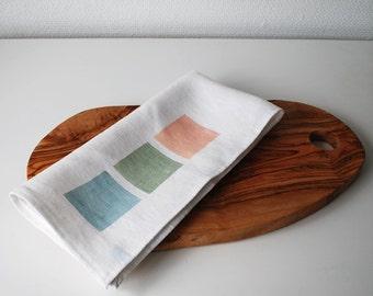 Linen tea towel hand screen printed