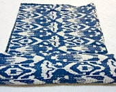 Blue Ikat quilt in Queen, ikat kantha quilt bedspread, queen Ikat kantha quilt Bedding, ikat Queen Blanket, ikat Bed cover Throw 90X108