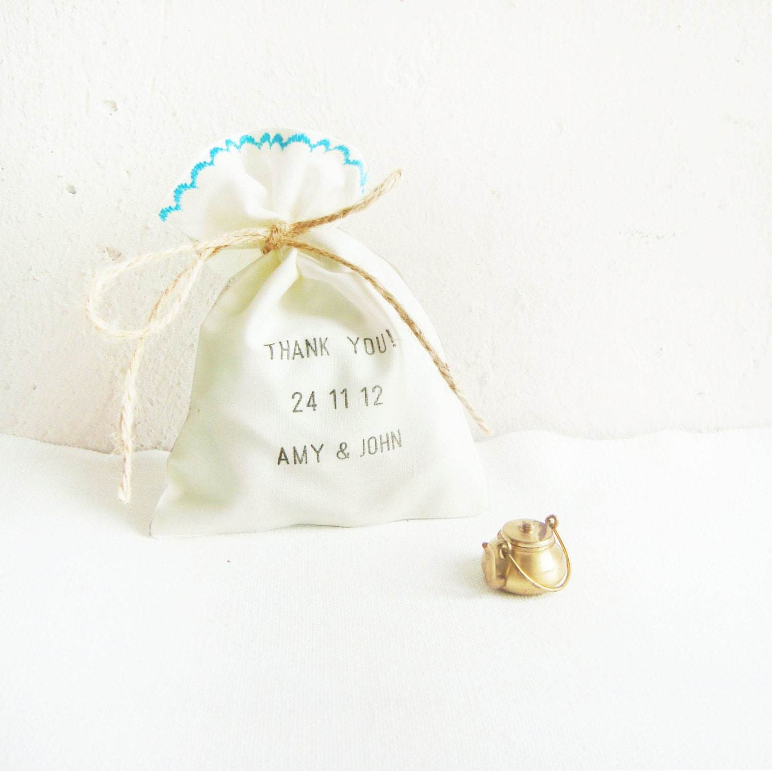 Stamped Favor bags SET OF 50 wedding favors ivory and blue