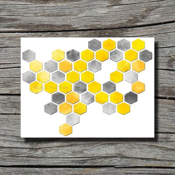 Mustard Yellow Kitchen Decor: Modern Print Dark Grey And Mustard Yellow By