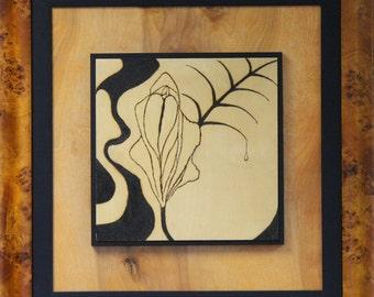 Little Girl Lost / Magnificent Framed Original 25x25 SOLAR ART – Solar Pyrography - Solar Etching - Woodburned Art