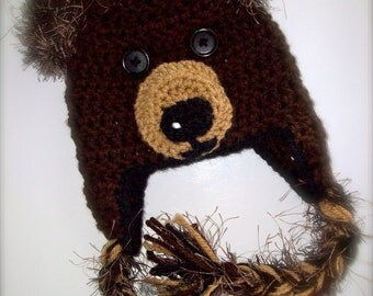 Children's Furry Teddy Bear Earflap Hat