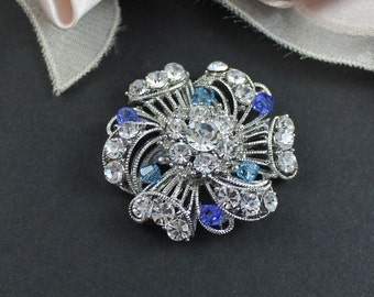 Bridal Brooch, Swarovski Wedding Dress Brooch, Victorian Wedding Dress Sash Pin