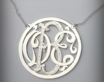 Monogram Necklace with Hand engraved details - Sterling Silver - Personalized - Up to 3 initials