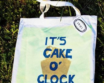 "Sac cabas ""It's Cake O'Clock"" vert"