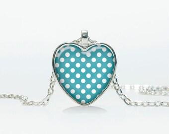 Blue Polka Dot pendant  Polka Dot  Heart necklace  Polka Dot jewelry  Heart shape Heart pendant