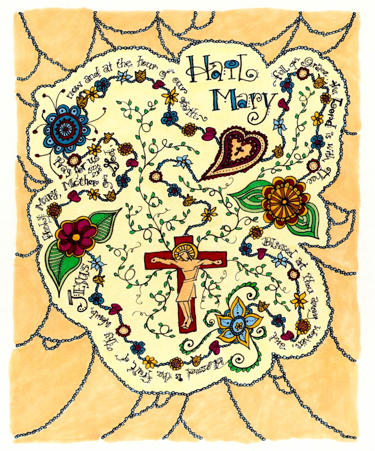 rosary of flowers with hail mary prayer contemporary art