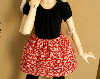 BJD MSD Skirt [Red with Flowers]