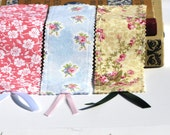 Fabric bookmarks with ribbon - Set of three - Pink, white, green theme