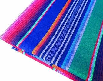 Mexican Fabric, Aztec Fabric, Tribal Fabric by the yard, Blue Fabric With Tribal details, Housware, Mexico Wedding, Fiesta Decoration