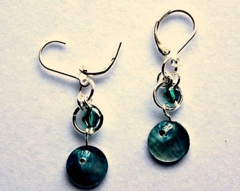 Turquoise Shell and Crystal Earrings