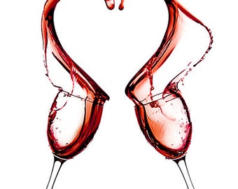 Art Print: Wine Series - Red Heart Love - two wine glasses collide spilling wine out into the shape of a heart