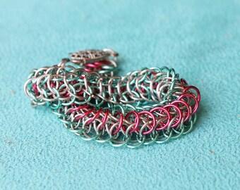 Neon Garden chain maille bracelet