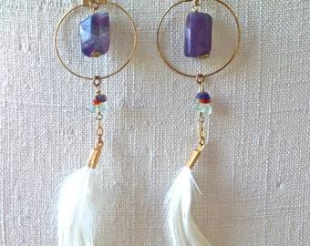 Fluorite Feather Hoop Earrings