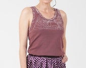Red tank top, Hand printed with heart shaped embroidery, for women