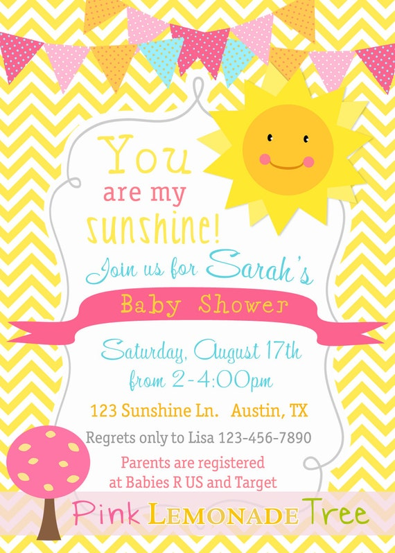 You Are My Sunshine Baby Shower Invitation Yellow Chevron Customized. You  ...