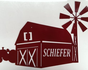 Custom Wall Hanging Barn with Windmill and Tractor Metal Sign