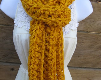 Scarf, mustard scarf, chunky mustard scarf, long scarf