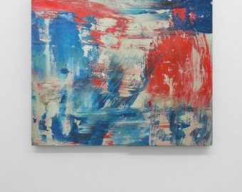 Abstract art blue teal red grey gray canvas art huge wall art big contemporary painting minimalist painting modern painting
