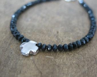 Black spinel bracelet. Black spinel and sterling silver cross. Cross bracelet. Black spinel  and Isterling silver solid cross.