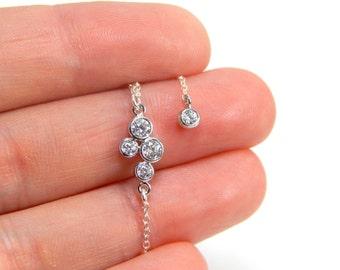 Long Y cz necklace, cz lariat, cubic zirconia necklace, crystal necklace, long necklace, y necklace, drop necklace, shinny necklace 084