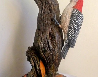 Hand Carved Red-Bellied Woodpecker Sculpture