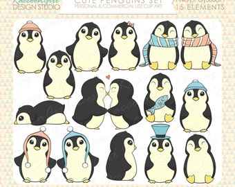 50% OFF Cute Penguins Clip Art Set - Personal & Commercial Use