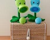 "Crochet Pattern of Peashooter and Snow Pea from ""Plants vs Zombies"" (Amigurumi tutorial PDF file)"