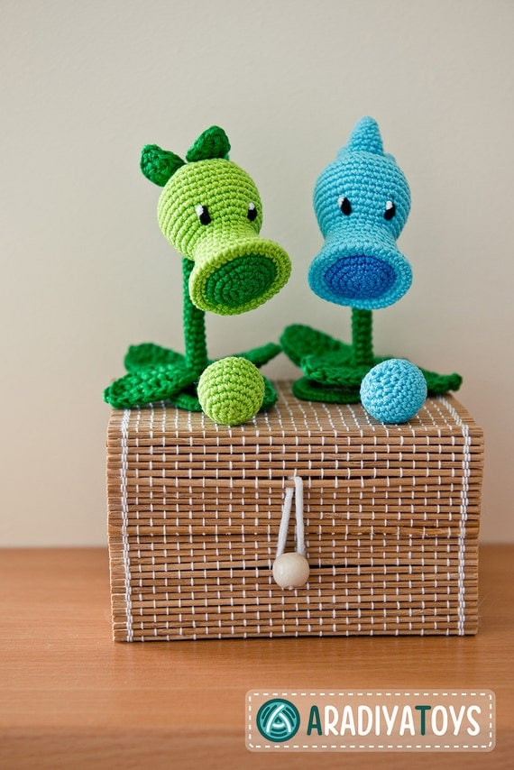 Crochet Pattern of Peashooter and Snow Pea from Plants vs Zombies ...