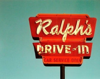 Retro Drive-In Restaurant Sign Photography Art Print