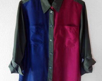 Vintage Color Block Silk Blouse